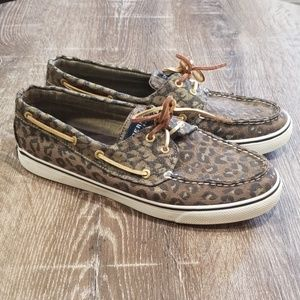 Sperry Top Sider leopard print slip on sneakers